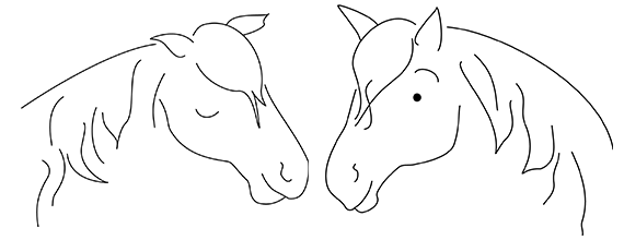 nöjd, glad häst