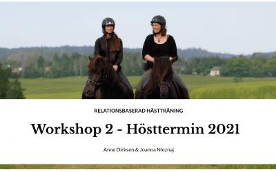 Augusti Workshop 2021 – Känslor & motbetingning